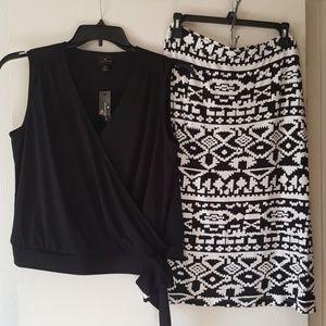 Worthington sexy black sleeveless wrap top